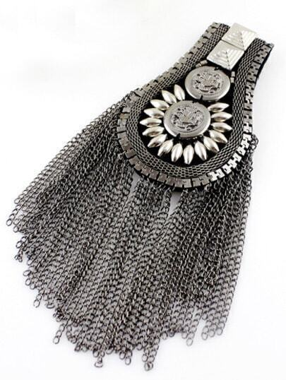 Silver Bead Chain Tassel Brooches
