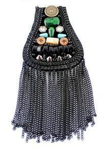 Black Bead Chain Tassel Brooches