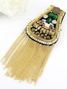 Gold Bead Chain Tassel Brooches