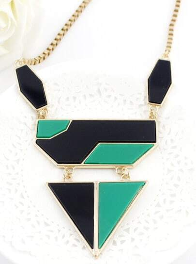 Black Green Geometric Mosaic Gold Chain Necklace