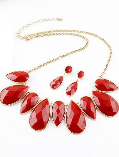 Red Drop Gemstone Gold Chain Necklace