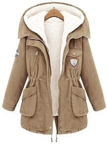 Khaki Hooded Long Sleeve Pockets Two Pieces Coat