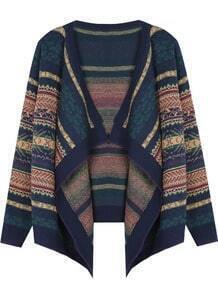 Navy Tribal Striped Pattern Draped Front Cardigan