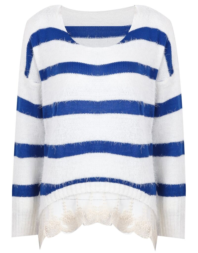 Royal Blue and White Striped Contrast Lace Hem Sweater -SheIn ...