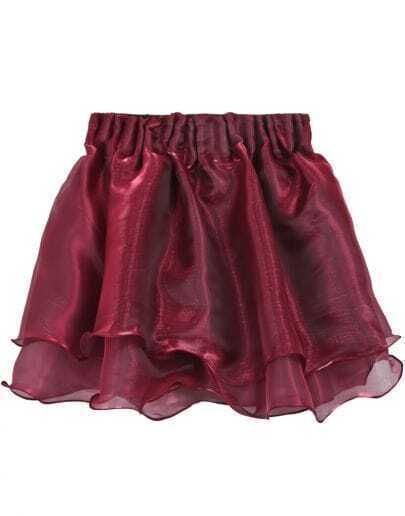 Wine Red Layered Mesh Flare Short Skirt