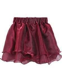 Wine Red Layered Mesh Flare Short Skirt