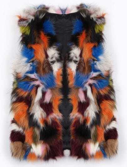 Multicolor Random Pattern Real Fur Gilet
