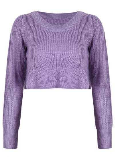 Light Purple Boat Neck Ruffle Hem Crop Sweater