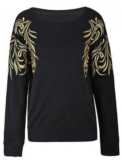 Black Gold Silk Embroidery Flowers Shoulder Sweatshirt