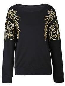 Black Gold Silk Embroidery Flowers Shoulder Sweatshirt