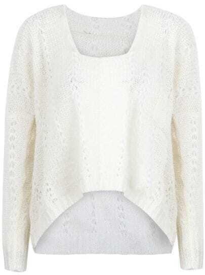 White Batwing Sleeve Dipped Hem Eeylet Sweater