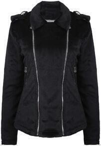 Black Lapel Long Sleeve Epaulet Zipper Jacket