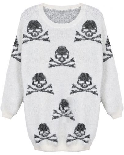 Beige Long Sleeve Black Skull Pattern Mohair Sweater