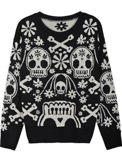 Black Long Sleeve Skull Pattern Loose Sweater