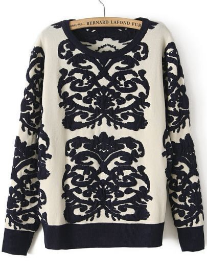 Navy Long Sleeve Porcelain Vintage Floral Sweater