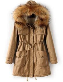 Khaki Faux Fur Hooded Drawstring Pockets Coat
