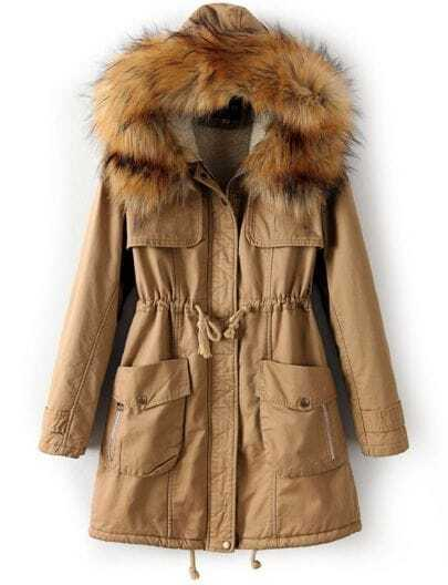 Khaki Faux Fur Hooded Drawstring Pockets Coat