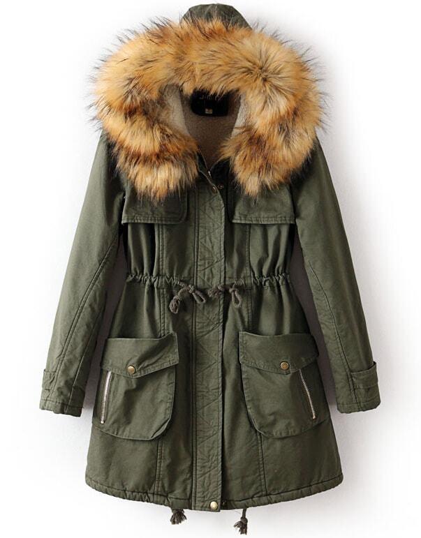 Army Green Faux Fur Hooded Drawstring Pockets Coat -SheIn(Sheinside)
