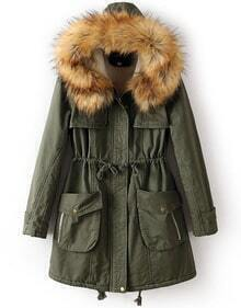 Army Green Faux Fur Hooded Drawstring Pockets Coat