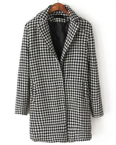 Black Lapel Long Sleeve Houndstooth Coat