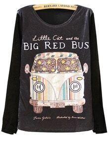 Black Long Sleeve Cartoon Bus Print Slim T-Shirt