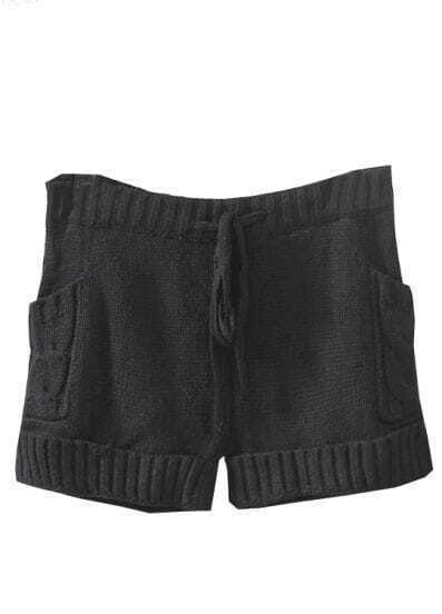 Black Drawstring Cable Knit Sweater Shorts