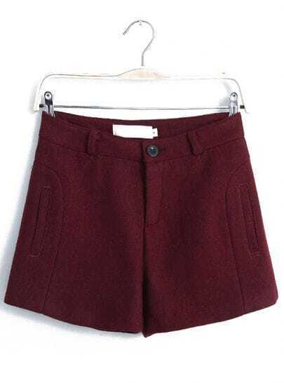 Wine Red Pockets Straight Woolen Shorts