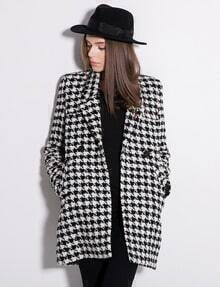 Black White Houndstooth Long Sleeve Double Breasted Slim Coat