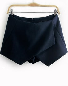 Navy Asymmetrical Slim Woolen Shorts
