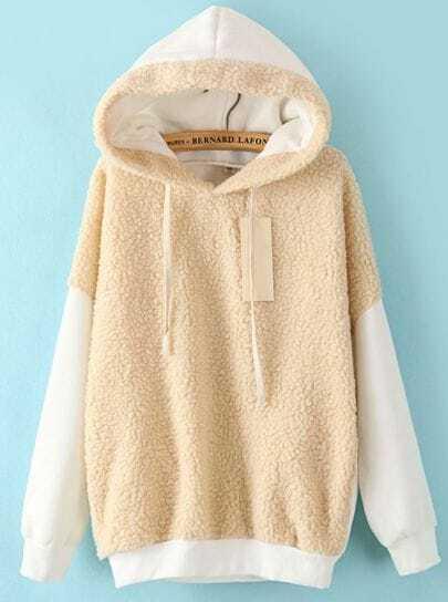 White Hooded Long Sleeve Wool Loose Sweatshirt