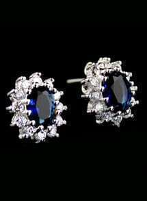 Blue Gemstone Silver Flower Stud Earrings