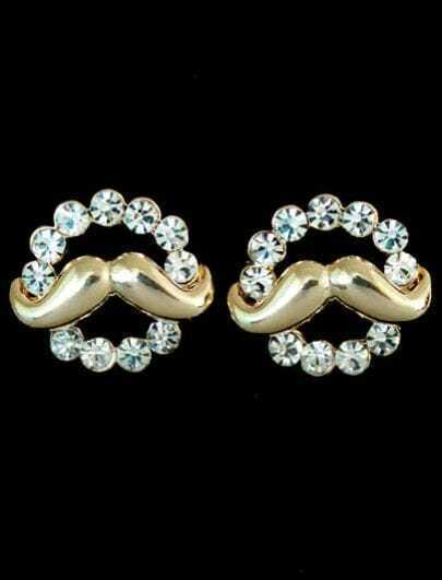 Gold Crystal Beard Stud Earrings