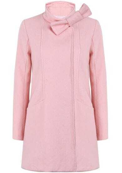 Pink Stand Collar Long Sleeve Bow Coat