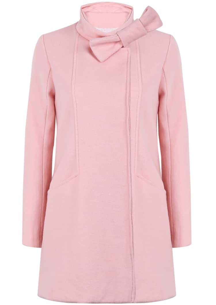 Pink Stand Collar Long Sleeve Bow Coat -SheIn(Sheinside)