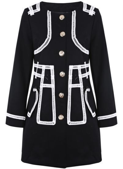 Black Long Sleeve Contrast Trims Buttons Coat