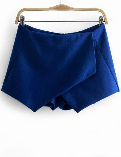 Blue Asymmetrical Slim Woolen Shorts