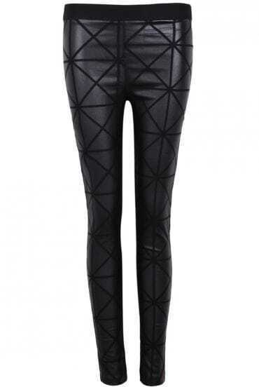 Black Skinny Geometric Print Leggings