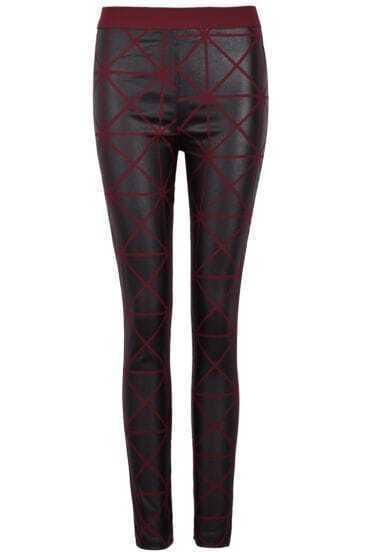 Red Skinny Geometric Print Leggings