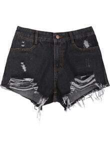 Black Pockets Ripped Denim Shorts