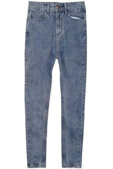 Blue Pockets Denim Pencil Pant