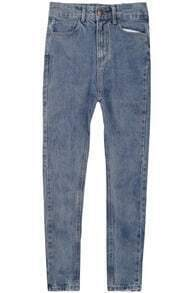 Blue Pockets Denim Pencil Pant