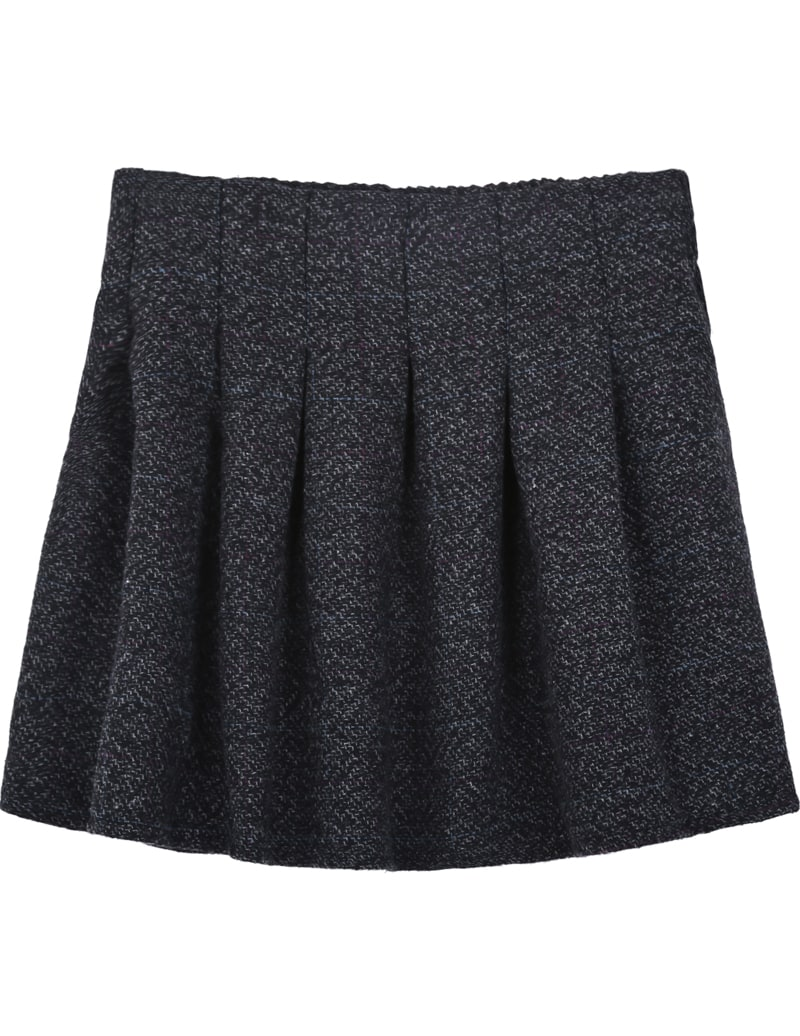 grey flare pleated woolen skirt shein sheinside