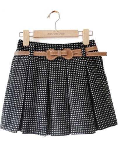 Black White Polka Dot Belt Woolen Skirt