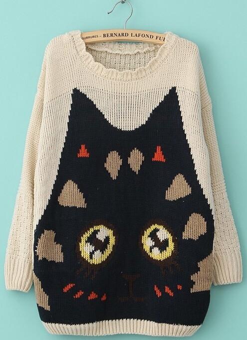 Knitting Pattern Cat Sweater : Beige Long Sleeve Cat Pattern Knit Sweater -SheIn(Sheinside)
