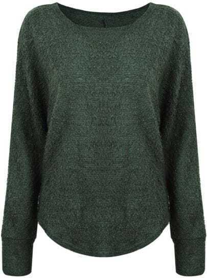 Green Long Sleeve Simple Design Loose Sweater