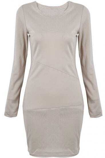 Khaki Long Sleeve Simple Design Bodycon Dress