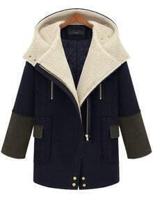 Navy Hooded Long Sleeve Zipper Pockets Woolen Coat