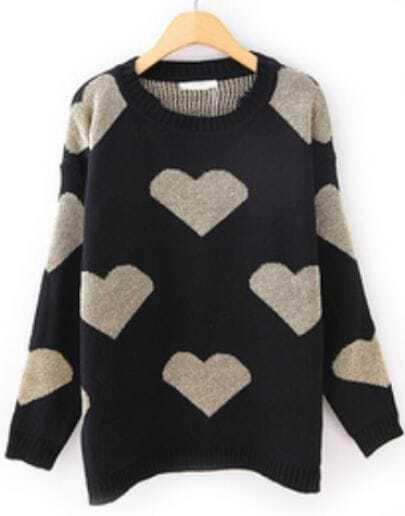 Black Long Sleeve Hearts Pattern Loose Sweater