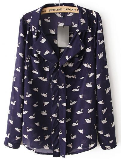 Blue Lapel Long Sleeve Swan Print Pockets Blouse