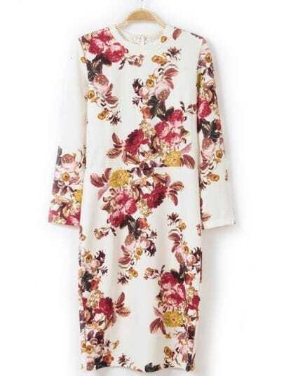 White Long Sleeve Vintage Floral Slim Dress